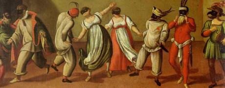 Maschere della Commedia dell'Arte in un dipinto di scuola veneta del XVI Secolo